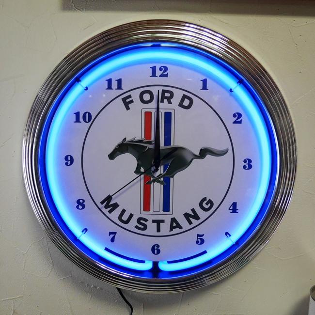 マスタング ネオンクロック ガレージインテリア 掛け時計 アメリカン雑貨の画像