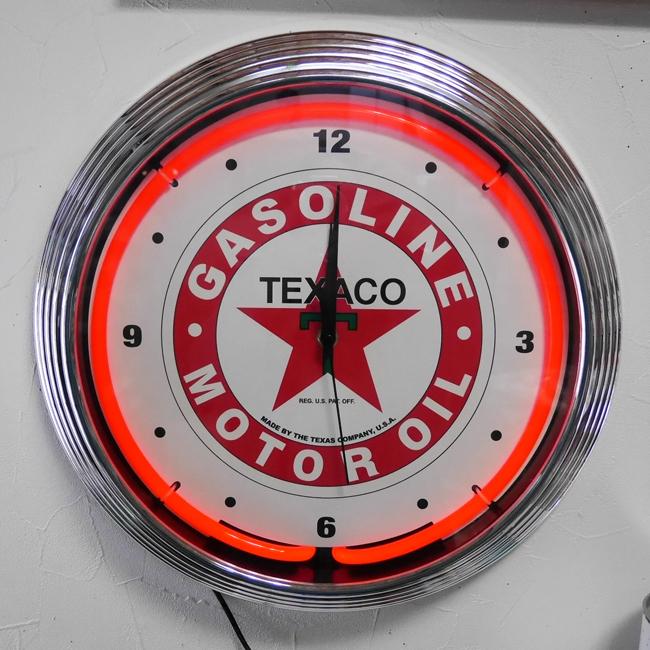 テキサコオイル ネオンクロック ガレージインテリア 掛け時計 アメリカン雑貨の画像