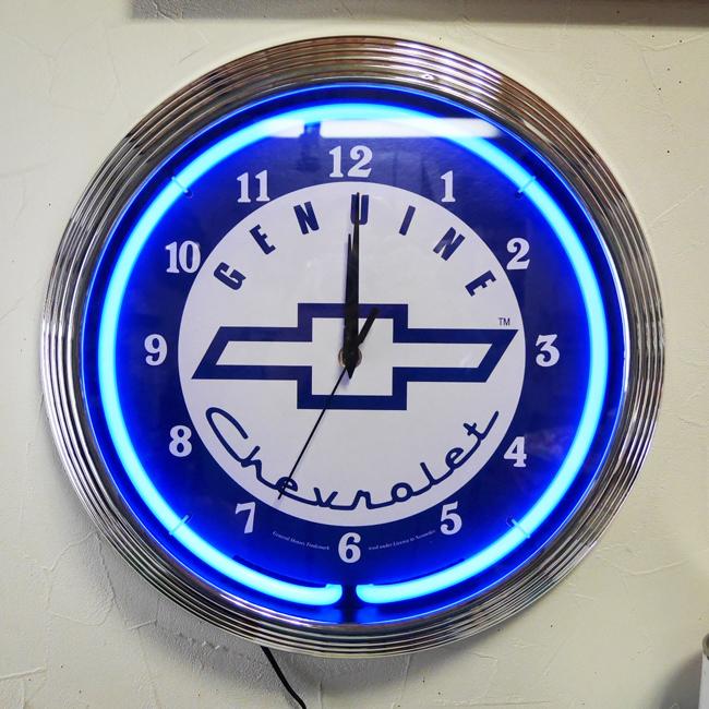 シボレー ネオンクロック ガレージインテリア 掛け時計 アメリカン雑貨の画像