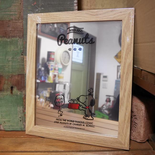 スヌーピー 壁掛け・スタンドミラー 鏡  ウッドミラー  インテリア  SNOOPY アメリカン雑貨画像