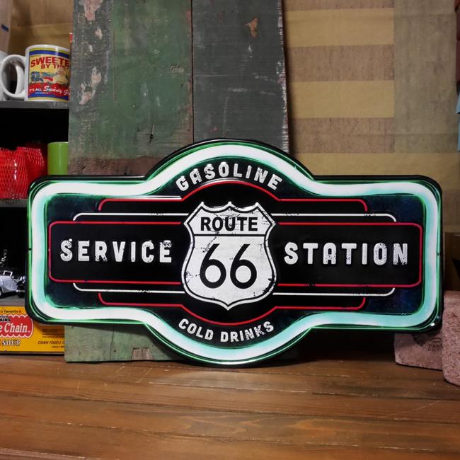 ルート66サイン看板  エンボスティンサイン ROUTE66 サービスステーション アメリカン雑貨画像