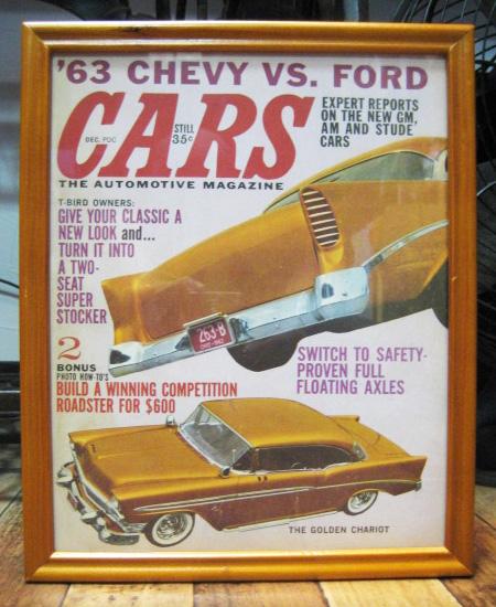 インテリアピクチャー 【CARS】レトロカー雑誌 ポスター額 アメリカンインテリアの画像