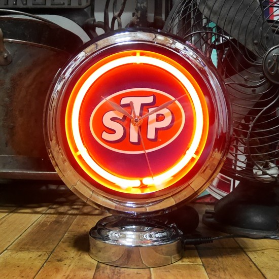 STP ガスランプ ネオンクロック 置時計 アメリカン雑貨画像
