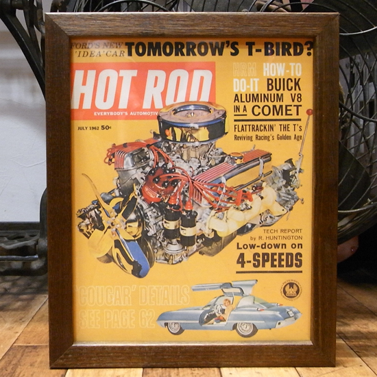 インテリアピクチャー 【HOT ROD】 レトロカー雑誌ポスター額 アメリカンインテリア の画像