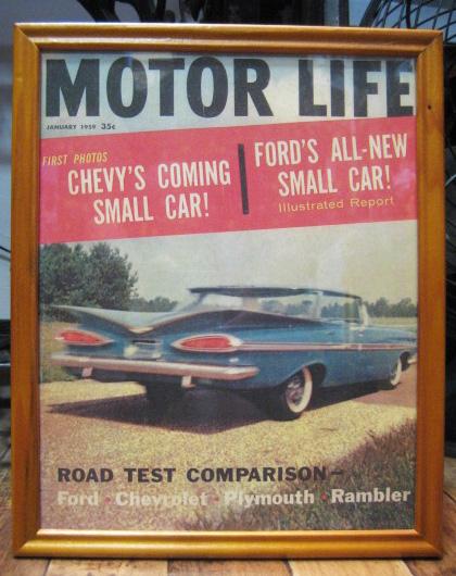 インテリアピクチャー 【MOTOR LIFE】レトロカー雑誌ポスター額 アメリカンインテリアの画像