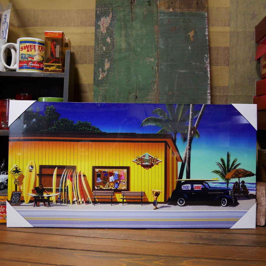 ハワイアン【SURF IN SEA  】栗山義勝 キャンバスポスター インテリア額 アメリカン雑貨画像