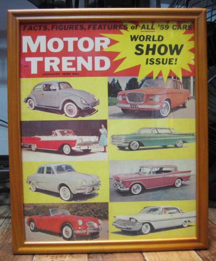 インテリアピクチャー 【MOTOR TREND】レトロカー雑誌 ポスター額 アメリカンインテリアの画像