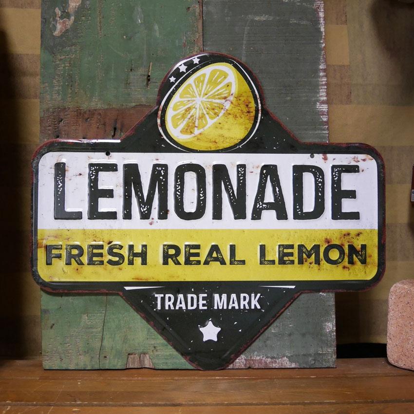 アンティーク エンボスプレート  Lemon レモネード  インテリア ブリキ看板 アメリカン雑貨画像