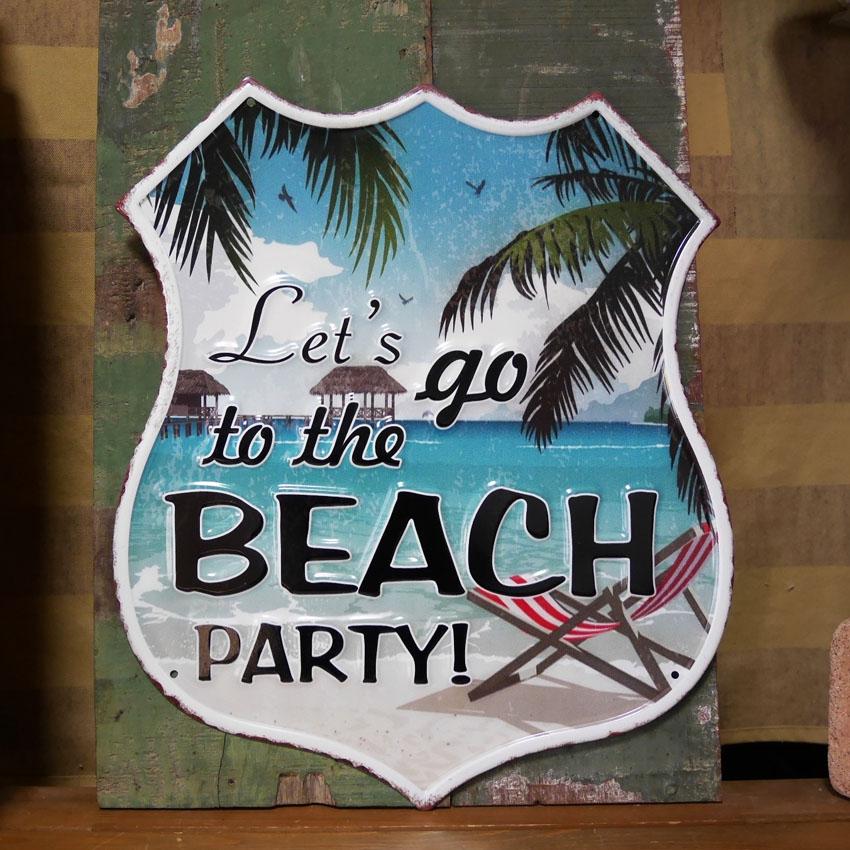 アンティーク エンボスプレート BEACH PARTY  ハワイアン インテリア  ブリキ看板 アメリカン雑貨画像