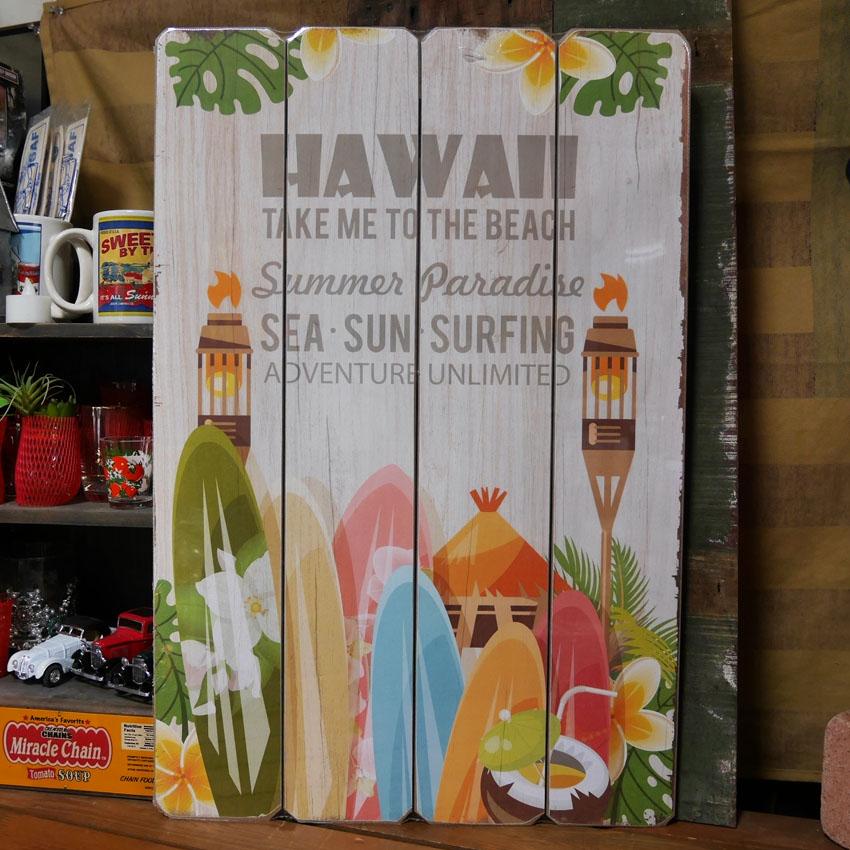 ウッドボード ハワイアン インテリア HAWAII to the Beach 木製看板 アメリカン雑貨画像