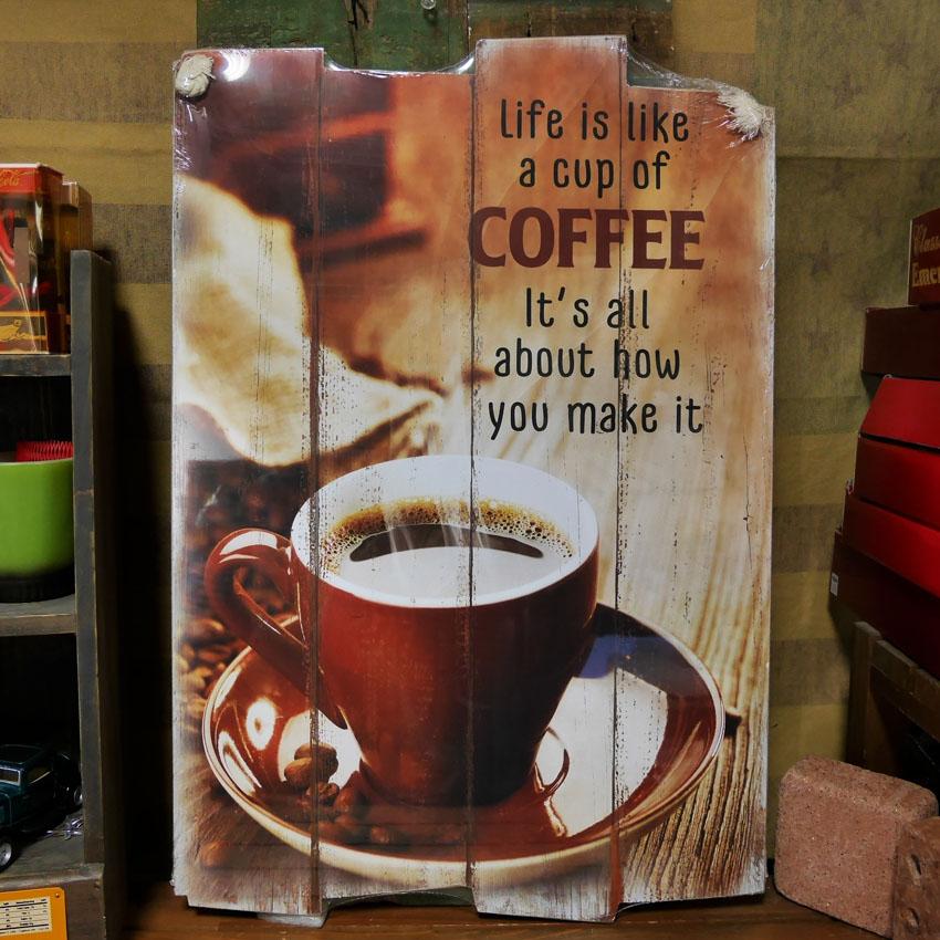 ウッドボード コーヒー インテリア 木製看板 A Cup of COFFEE 木製看板 アメリカン雑貨画像