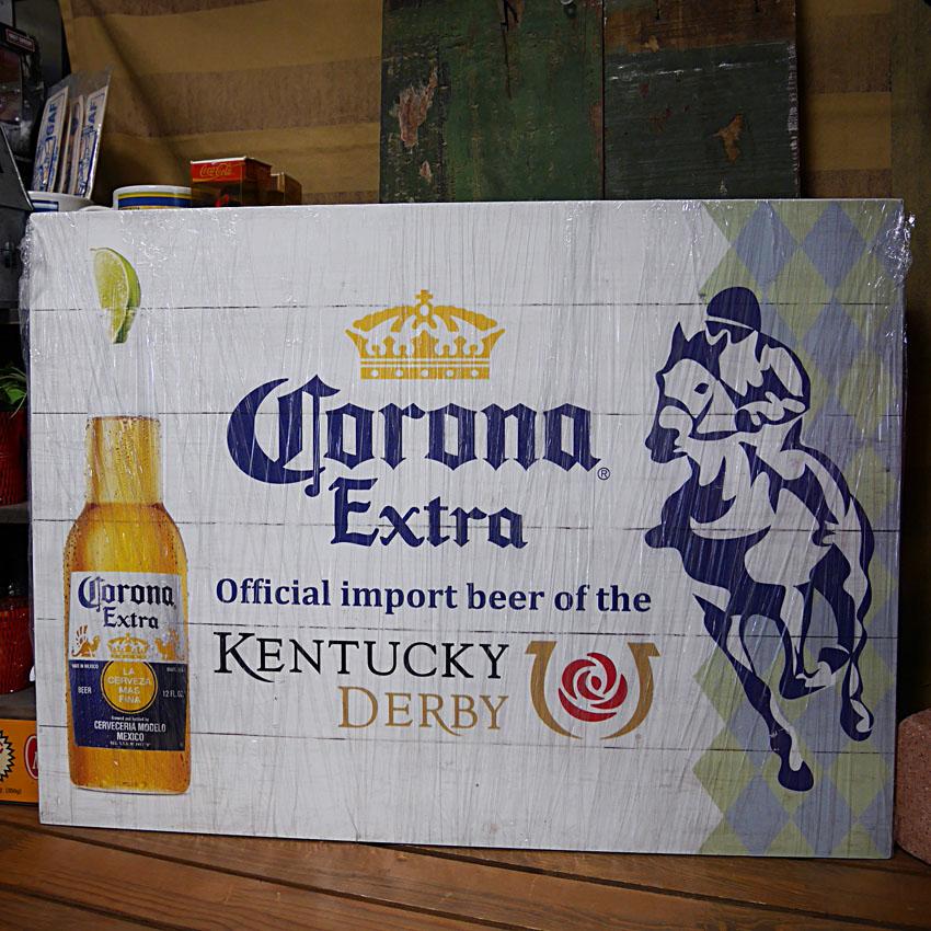 コロナ エクストラ ケンタッキーダービー インテリア 木製看板 Corona extra kentucky derby画像