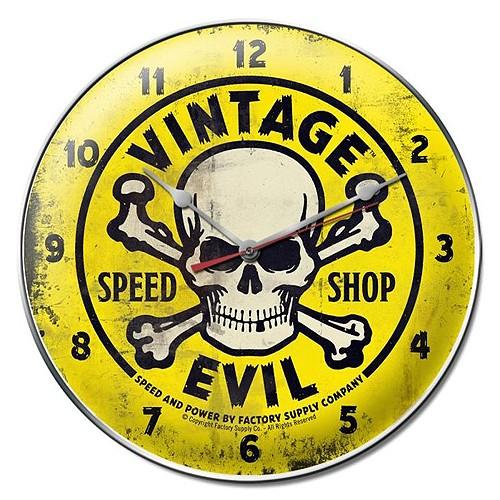 VINTAGE EVIL YELLOW SKULL ガレージクロック  ウォールクロック 壁掛け時計アメリカンインテリア画像