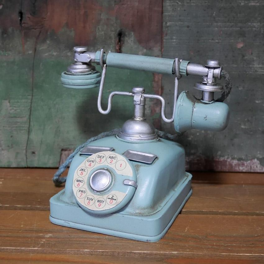 電話機 ブリキのおもちゃ インテリア オブジェ アンティークテレフォン アメリカン雑貨画像