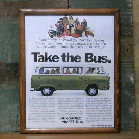 インテリアピクチャー【ワーゲンバス TAKE THE BUS】アドバタイジング広告ポスター インテリア額の画像