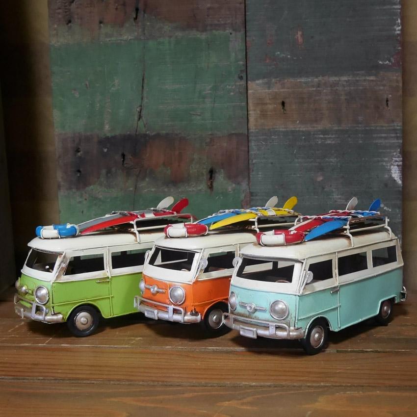 フォルクスワーゲン サーフワゴン ノスタルジックデコ 自動車 ブリキのおもちゃ  アメリカン雑貨画像