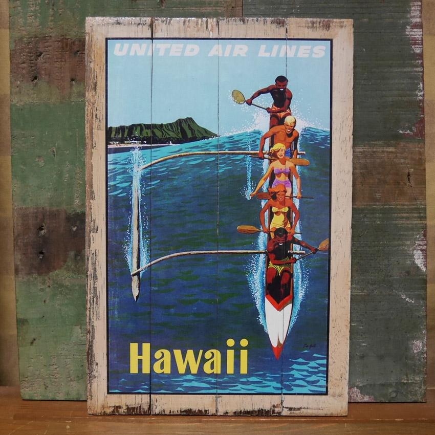ハワイアン パンナム ヴィンテージ看板 インテリア HAWAII 木製看板 ウッドサイン アメリカン雑貨画像
