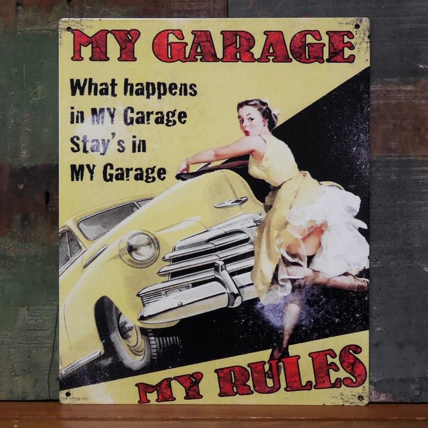 アンティーク メタルプレート MY GARAGE RULES   ブリキ看板 アメリカン雑貨画像