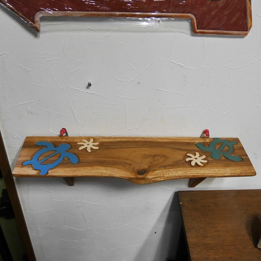 ハワイアン木製 チーク棚 ホヌ インテリア 木棚 アメリカンインテリア画像