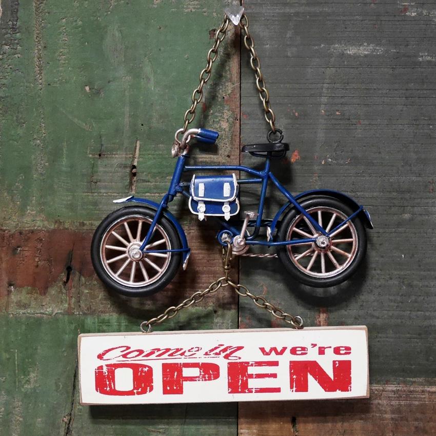 バイシクル オープン&クローズボード ヴィンテージカー プラッケ 自転車 サイン看板 【OPEN】ブリキ看板 アメリカン雑貨画像