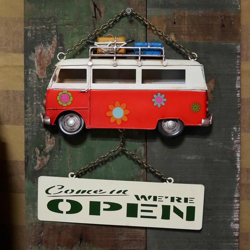 ワーゲンバス OPEN&CLOSED プレート  サイン看板 【OPEN】ブリキ看板 アメリカン雑貨画像