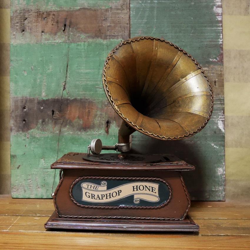 ヴィンテージ コインバンク 蓄音機 貯金箱 オールドアメリカン雑貨 置物 オブジェ インテリア雑貨画像