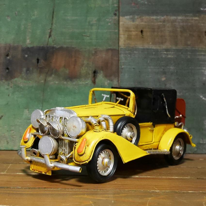 ヴィンテージカー クラシックカーイエロー ブリキのおもちゃ アメリカン雑貨画像