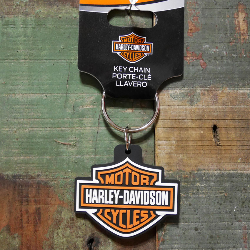 ハーレーダビッドソン ラバー キーチェーン Harley-Davidson PVC キーホルダー H-D B&S LOGO画像