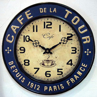 ティン カフェクロック レトロ掛け時計 アメリカンインテリア画像