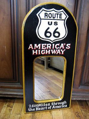 木製壁掛けミラー パブミラー【ルート66】アメリカン雑貨の画像