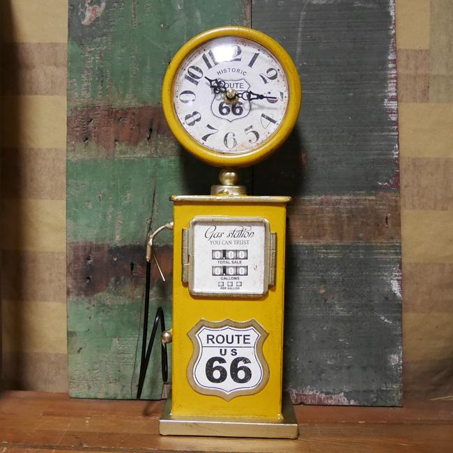 ガスポンプ テーブルクロック ルート66 置時計 YELLOW ROUTE66 アメリカン雑貨画像