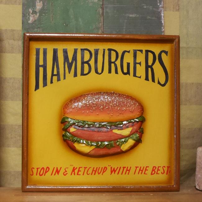 ハンバーガーウッド看板 アメリカンインテリア アメリカン雑貨の画像
