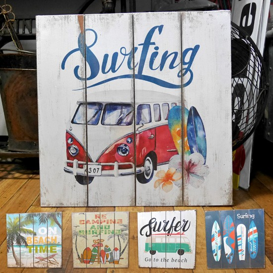 ハワイアン ウッドボード インテリア 木製看板 サーフバス ウォールプレート アメリカン雑貨画像