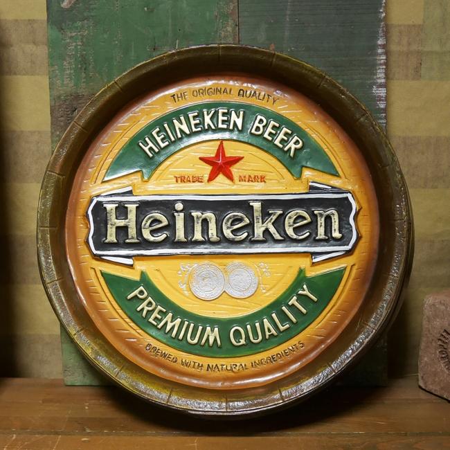 ハイネケン バレルサイン 樽型看板  インテリア Heineken アメリカン雑貨 アメリカンインテリアの画像