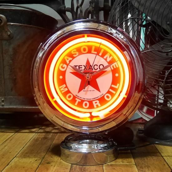 テキサコガスランプ ネオンクロック 置時計 アメリカン雑貨の画像