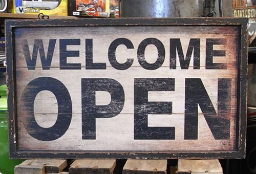 サインボード アンティークタイプウッド看板【オープン/クローズ】インテリア雑貨の画像