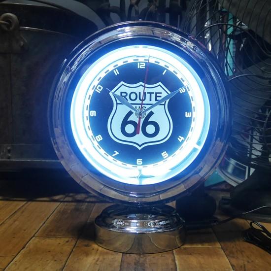 ルート66ガスランプ ネオンクロック 置時計 アメリカン雑貨 の画像