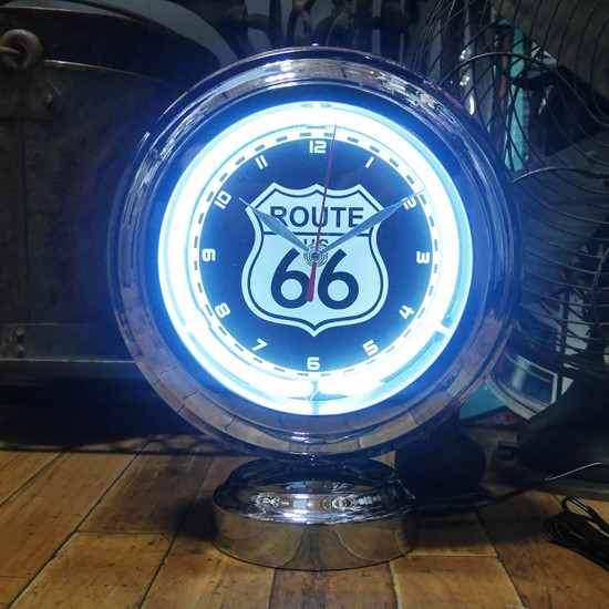 ルート66ガスランプ ネオンクロック 置時計 アメリカン雑貨 画像