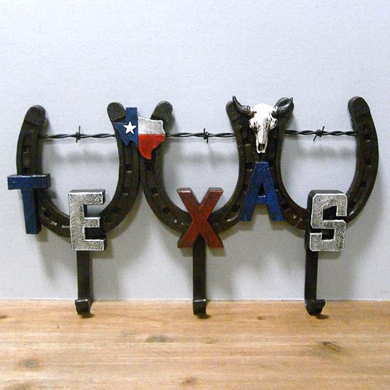 テキサス3連フックハンガー【ホースシュー】  アメリカン雑貨 インテリア雑貨の画像