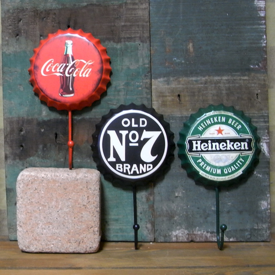 ドリンクボトルキャップ型フック アメリカン雑貨 インテリア雑貨画像