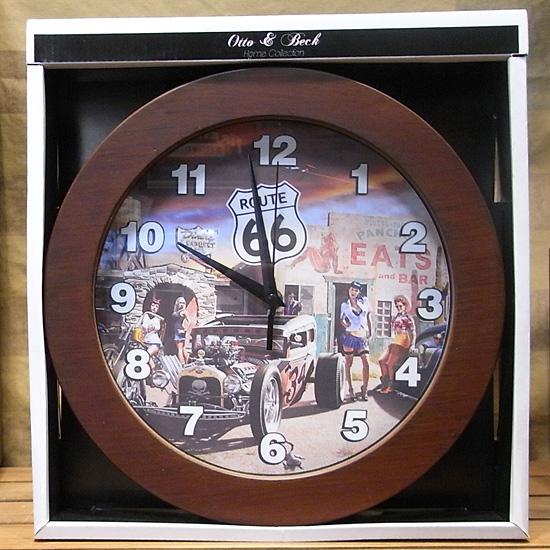ウォールクロック ROUTE66 壁掛け時計 アメリカン雑貨の画像