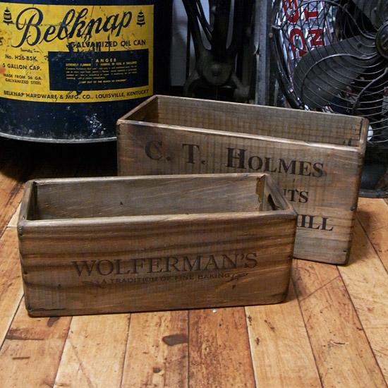 オールドパインボックス 木箱 2個セット 収納ボックス  インテリア雑貨 アメリカン雑貨の画像