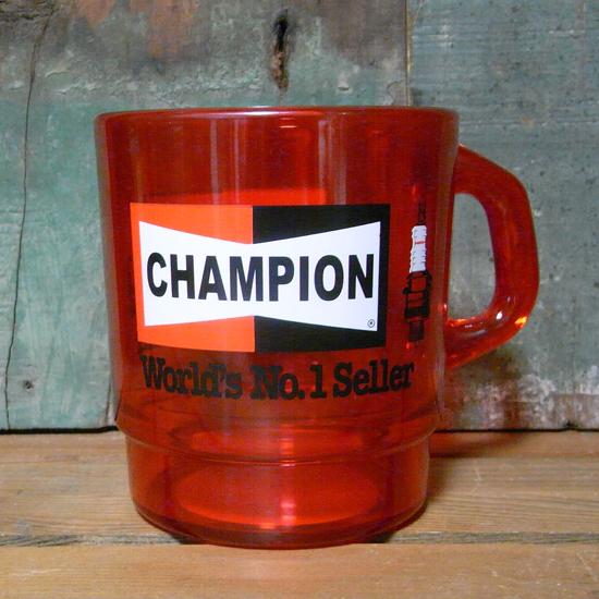 アドバタイジング クリアマグカップ CHAMPION チャンピオン アメリカン雑貨 の画像