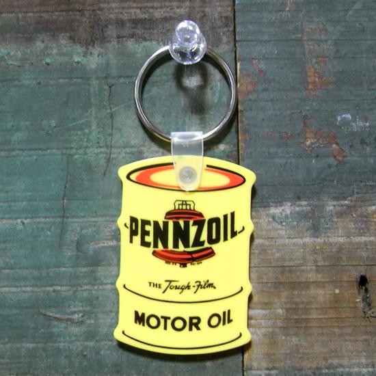 オイル缶 ラバー キーホルダー PENNZOIL ペンズオイル アメリカン雑貨の画像