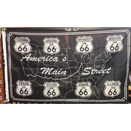 ルート66メインストリート フラッグ タペストリー アメリカン雑貨の画像