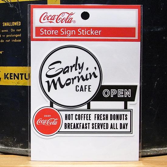 コカ・コーラ オープン CAFE ステッカー シール アメリカン雑貨の画像