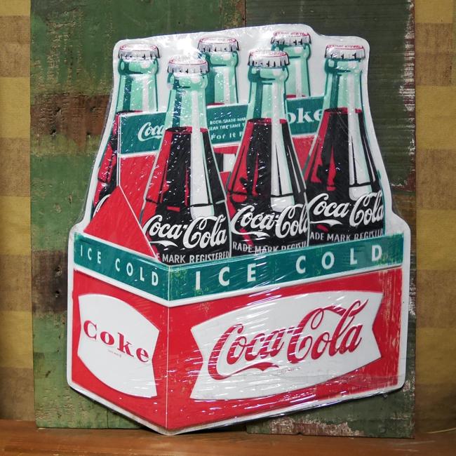 コカ・コーラ ブリキ看板 ティンサイン エンボス コカ・コーラボトル アメリカン雑貨画像