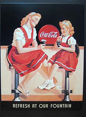 コカ・コーラブリキ看板 ティンサイン コークサイン看板 アメリカン雑貨画像