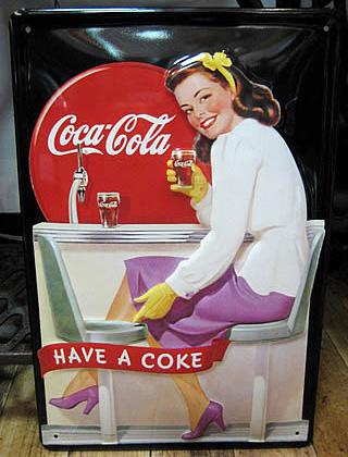 コカ・コーラ 3Dエンボス看板 ティンサイン コークサイン看板 アメリカン雑貨の画像