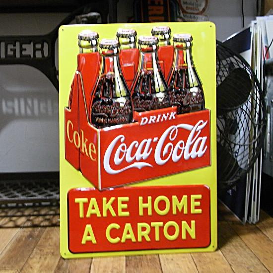 コカコーラエンボス看板 コカコーラブリキ看板 アメリカン雑貨の画像